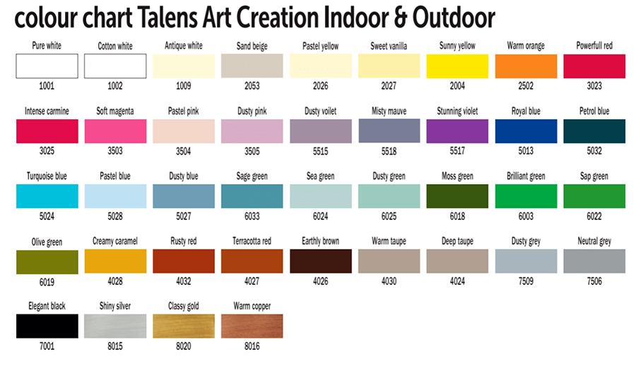 färgkarta talens art creation outdoor indoor