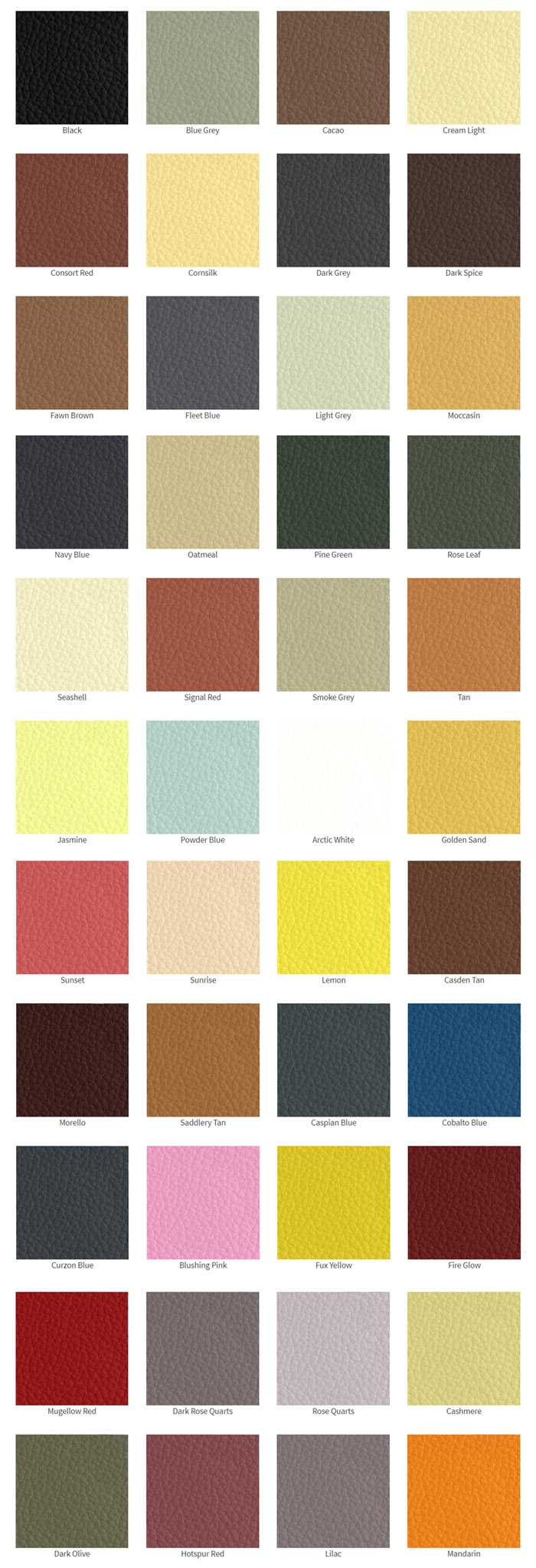 färgkarta läderfärg rolls royce bentley