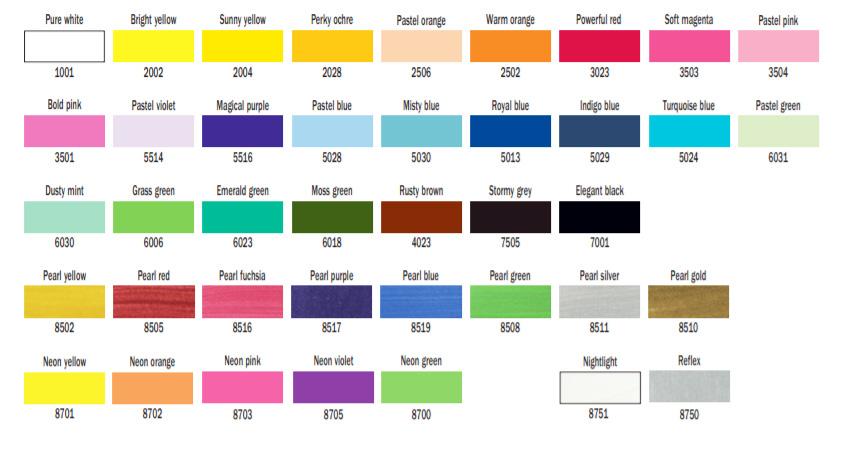 färgkarta talens art creation textilfärg