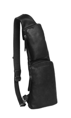 Bröstväska The Chesterfield brand Logan svart framsida