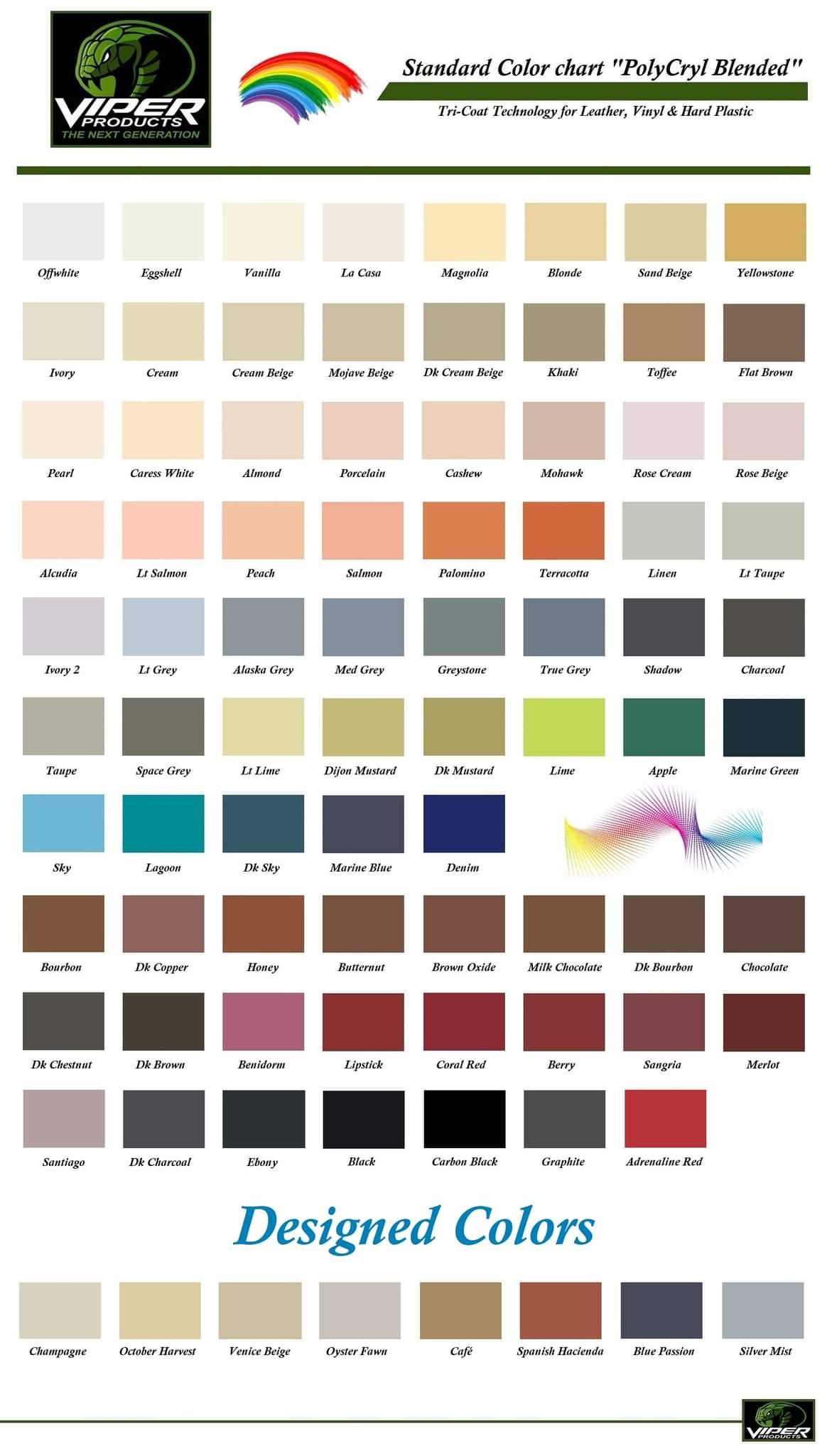 viper produkts vinylfärg färgkarta